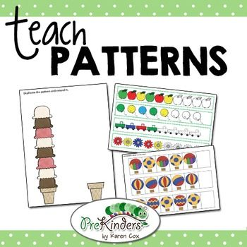 This non-themed packet of printables teaches patterns for Preschool, Pre-K, Kindergarten, or any child who is learning basic patterns: AB, AABB, ABC, AAB, ABB. Includes observational Assessment sheets!