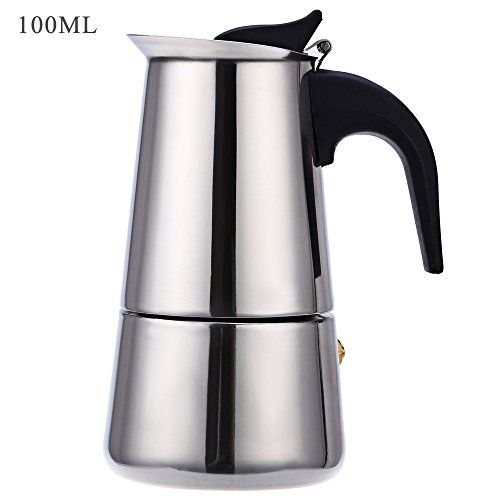 Robolife 2-Cups Stainless Steel Espresso Coffee Maker Percolator Coffee Makers Pot 100ML