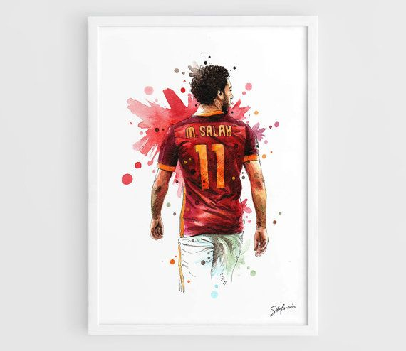 Mohamed Salah AS Roma - A3 Wall Art Print Poster of the Original Watercolor Painting Football Poster Soccer Poster by NazarArt