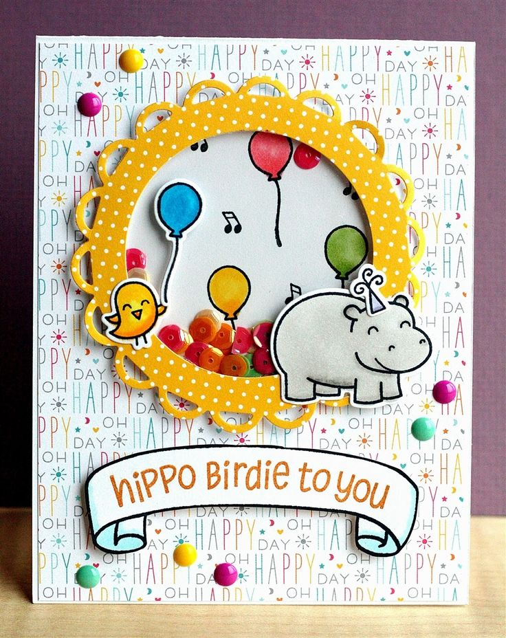 Lawn Fawn - Year Four + coordinating dies, Bannerific, Hello Sunshine 6x6 paper, Let's Polka 6x6 paper _ super adorable Shaker Card by Lisa at Lisa's Creative Niche: V's Sweet Ideas Monthly Challenge (pin of the day)