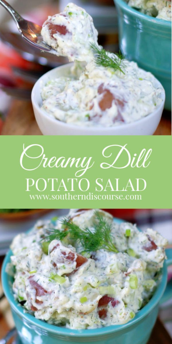 Creamy Dill Potato Salad In 2020 Dill Potatoes Red Skin Potato Salad Red Potato Salad Recipe
