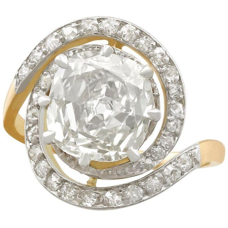 Antique 1900s 3.32 Carat Diamond And Yellow Gold Platinum