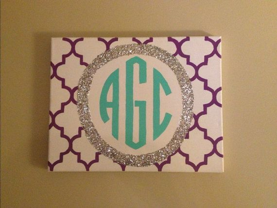 Quatrefoil Glitter Monogrammed Canvas on Etsy, $20.00