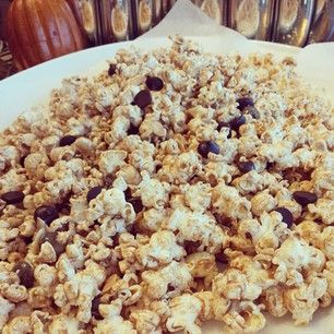 Almond butter popcorn! Movie theater treats. Sneak these in! Waaay better than anything at the concessions! Abt 12 cups air popped popcorn, 1/2 cup chunky almond butter melted in the micro with 1 Tbs. coconut oil for abt 30 seconds-stir. Mix the melted almond butter, with the popcorn, 1/4 cup sliced almonds, & 1/4 cup dark chocolate chips. Have fun!