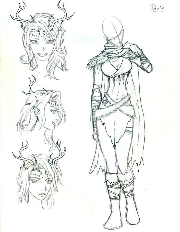 D Line Drawings Ideas : D female druid google search elf