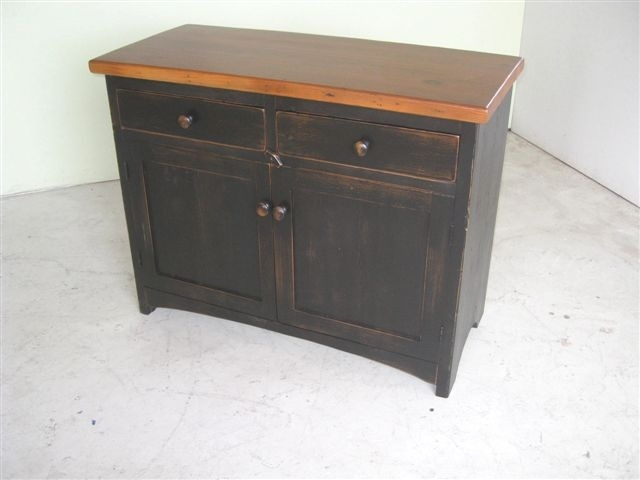 2 Door Antique Style Server With Black Base