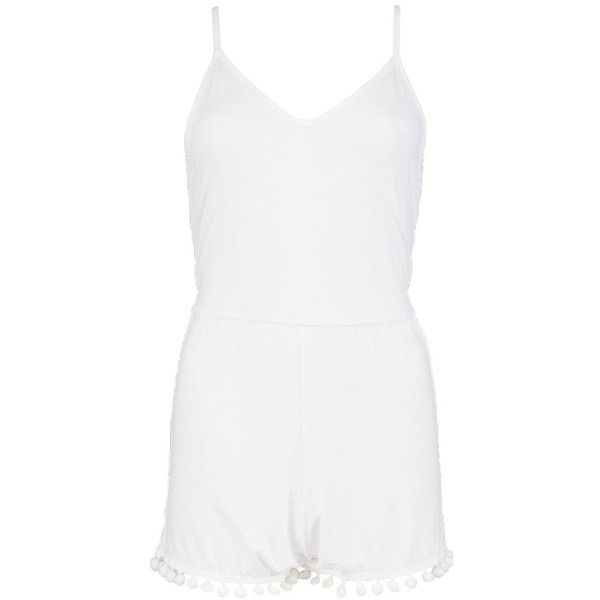 Boohoo Petite Anna Pom Pom Trim Playsuit Beach Cover Up ($30) ❤ liked on Polyvore featuring swimwear, cover-ups, cover up beachwear, cover up swimwear, beach cover up, swim cover up and petite swimwear