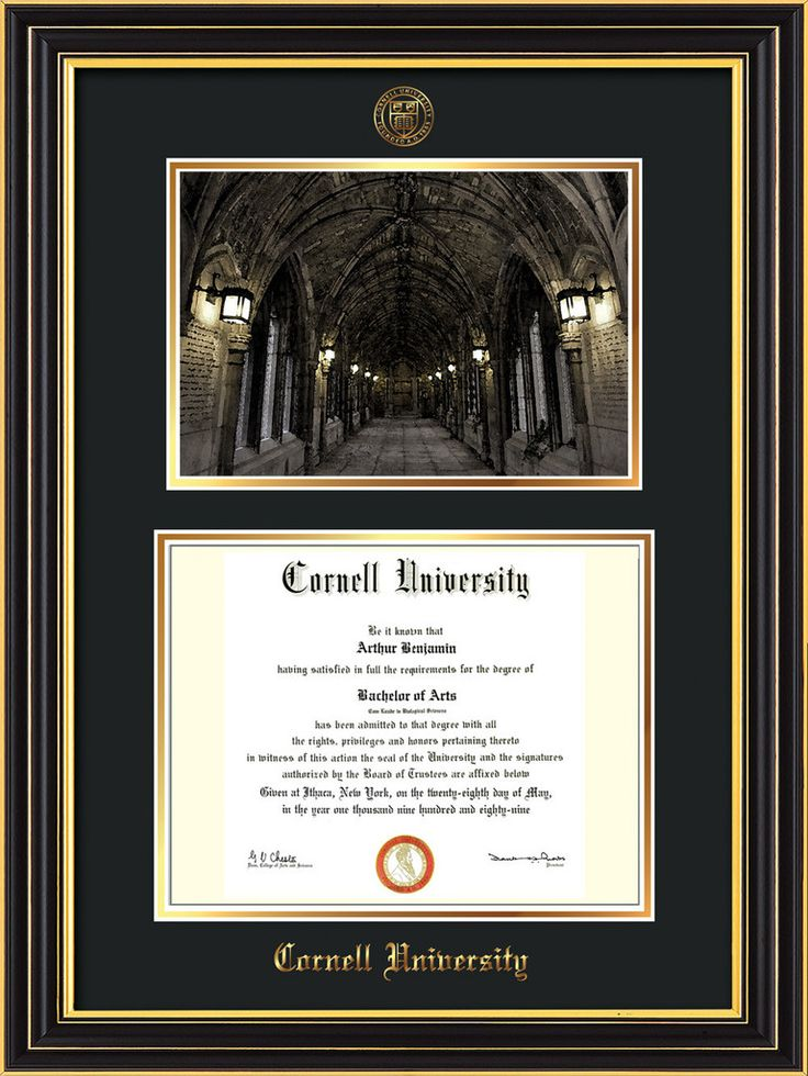 Cornell U Diploma Frame-Satin Black-War Memorial Photo-Black on Gold – Professional Framing Company