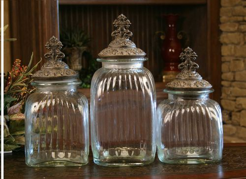 Drake Design Cross Clear Canister Set Of 3 Home Decorating Pinterest Canister Sets
