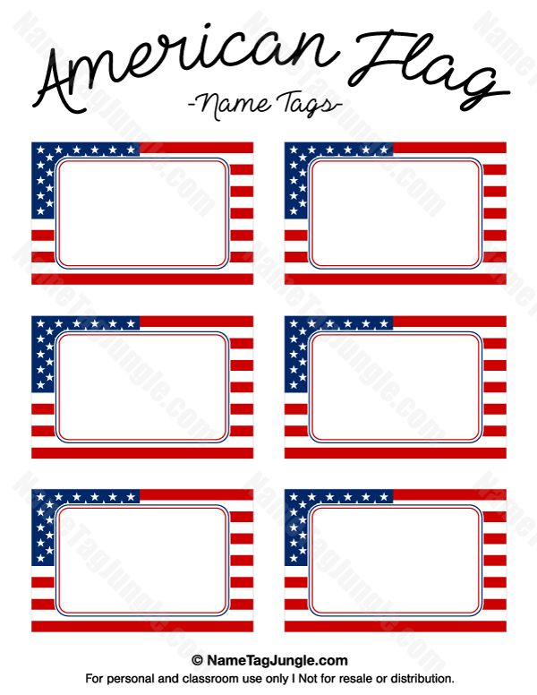 Free printable American flag name tags. The template can also be used for creating items like labels and place cards. Download the PDF at http://nametagjungle.com/name-tag/american-flag/