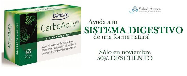 SÓLO DURANTE NOVIEMBRE 50% de descuento Tienda física u online  Cuida de tu sistema digestivo de forma natural y mímalo para regular las funciones que ayudan a combatir las flatulencias...http://saludatenea.com/-malestar-digestivo/1787-carboactiv-54-comprimidos-8414200205929.html  OFERTA TEMPORAL. Consúltanos cualquier duda sobre el producto: ¿Cómo?  1. Por mail: info@saludatenea.com 2. Por teléfono: 952 71 50 89 3. Por whatsapp: 655 88 40 14