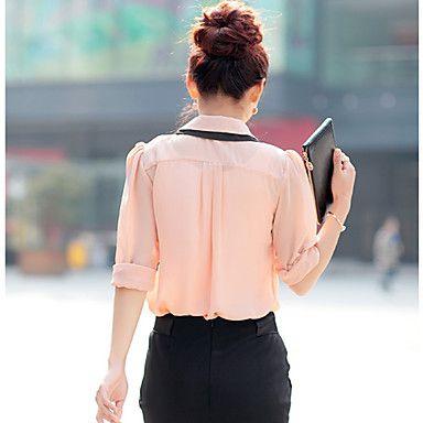 bonito contraste das mulheres arco colarinho da camisa meia manga de 2016 por R$38.06