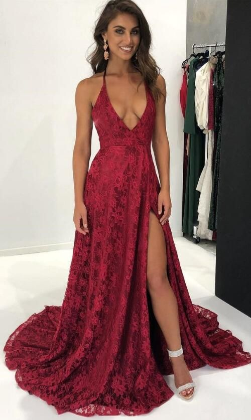 8edcd3f70d sexy deep v neck burgundy lace long evening dress with side slit
