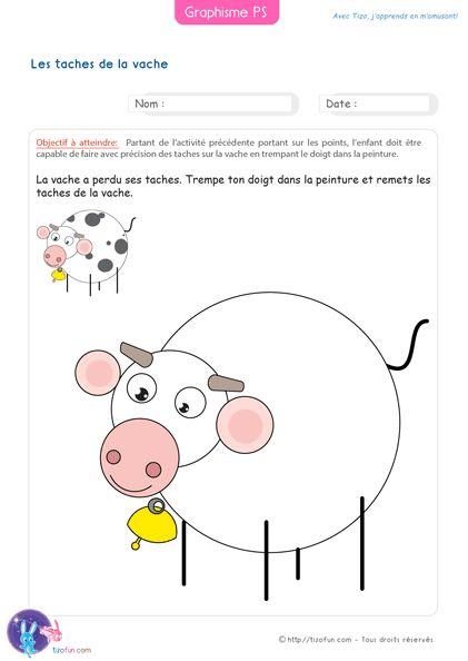 Graphisme Petite Section Compléter les taches de la vaches - L'enfant doit faire les taches sur le dos de la vache en se servant de son doigt (index).