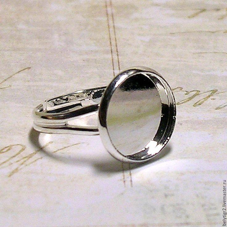 Купить основа для кольца с сеттингом, 12 мм, медь, цвет серебро, 1 шт. - серебряный