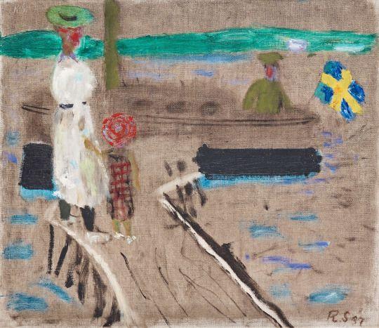 Ragnar Sandberg (Swedish, 1902-1972), Lilla Bommen, 1937. Oil on canvas, 42 x 48…