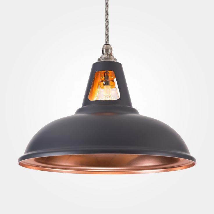 NEW! Coolicon Industrial Pendant Light - Fusion - Matt Dark Grey & Copper | Artifact Lighting