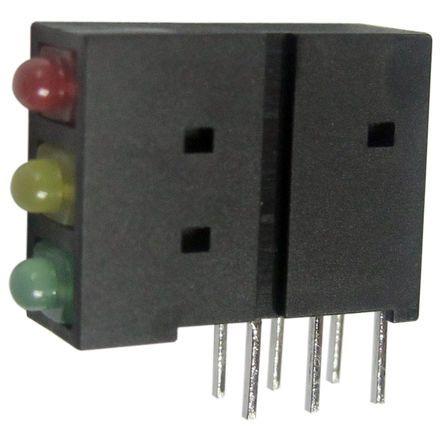 Indicatore LED per PCB Verde Kingbright, 70 °, 3 LEDs Ad angolo retto, 2,5 V, Montaggio con foro passante