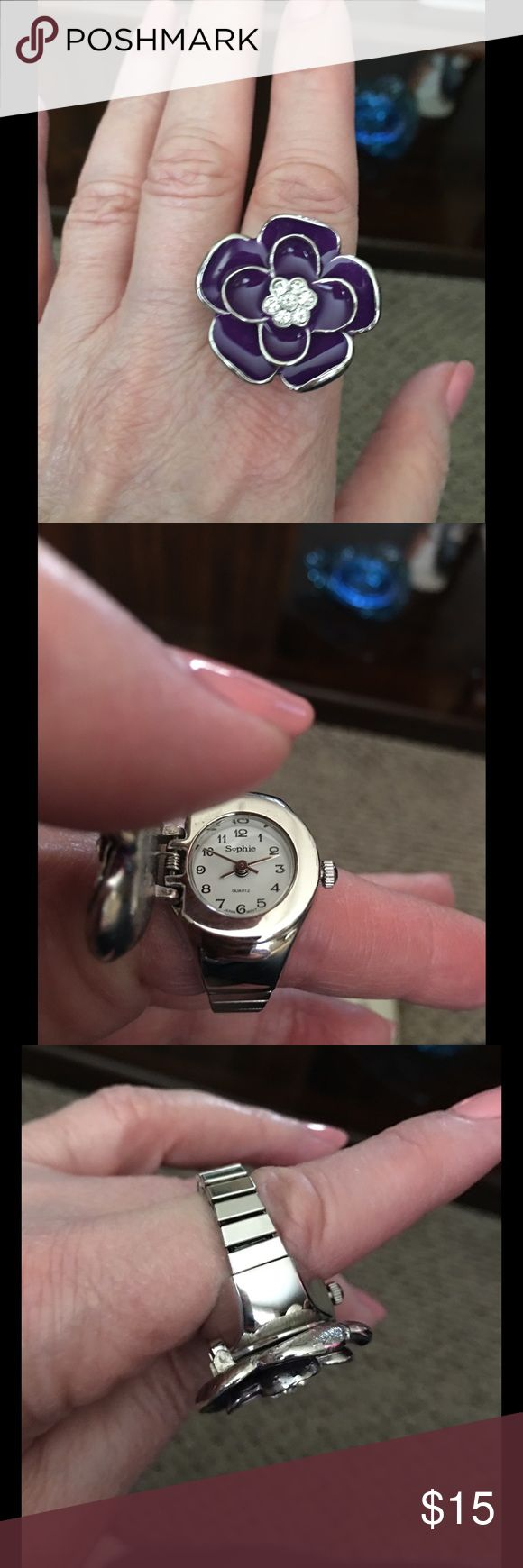 Watch Ring, purple & silver. Expansion fit How neat is this!!! In wonderful condition, selling for my stepmom. She got it as a gift and has never worn it and it needs a new battery. Purple, silvertone. Just pull the top back when you want to see the time. Nice! Accessories Watches