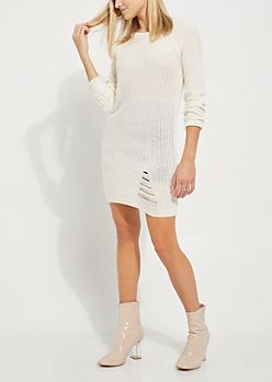 Ivory Distressed Sweater Dress