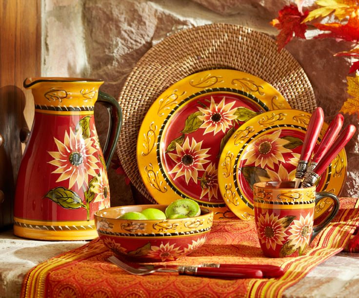Add personality to the table with Sunflower Dinnerware and Serveware from Pier 1