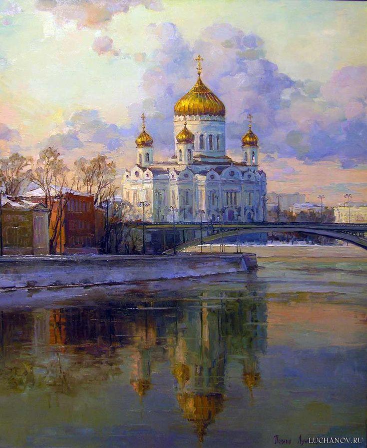 Московское утро. Храм Христа Спасителя . холст, масло 100х80 см 2015