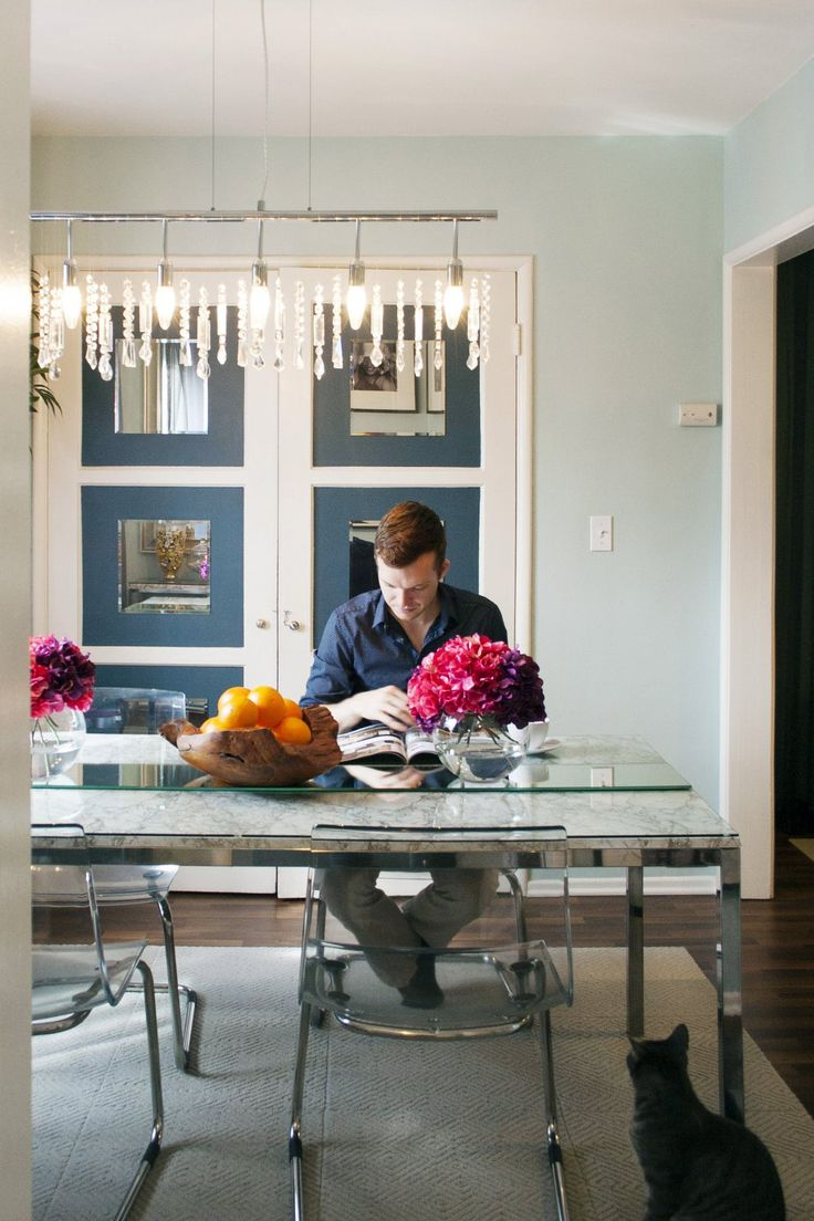 Glass top over marble: A Small But Glamorous West Hollywood Studio