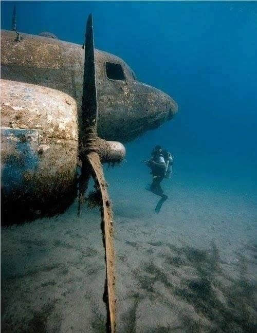 C47 this is off Midway island at the end of the runway .. after the battle of Midway they pushed alotta equiptment off the runway and the bigger stuff they placed in the channel to stop any chance of mini subs coming in between the islands ,, was there in the navy and we dove there with the ships dive club