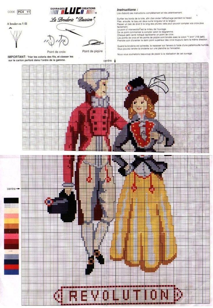 0 point de croix mode femme homme époque Révolution - cross stitch fashion lady gentleman french revolution era
