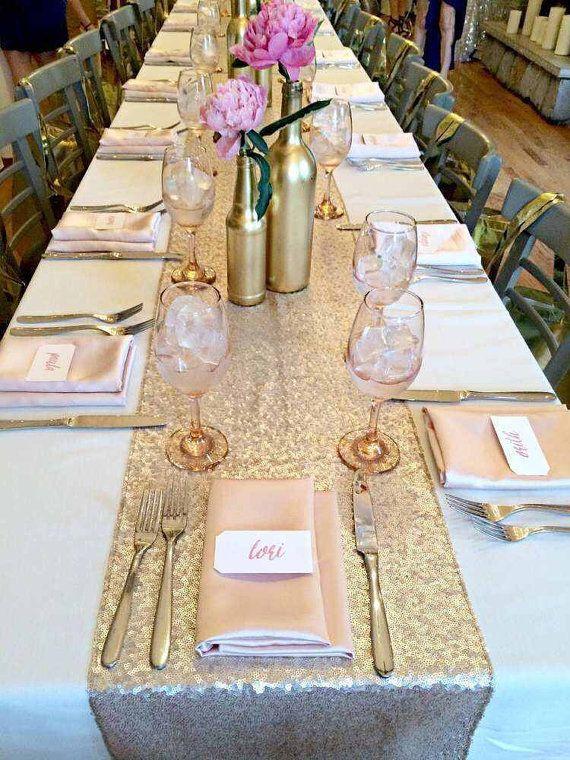 **wine bottles on cocktail tables** sequin table runner gold silver white blue by BlissBridalWeddings