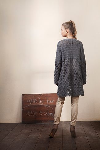 crochet long cardigan, free pattern by initiative handarbeit.de This looks so comfy!