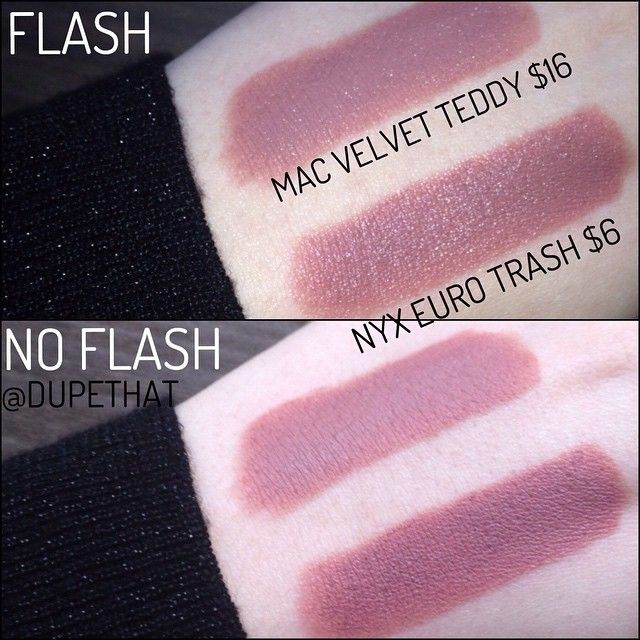 """What do you think of this MAC Velvet Teddy and NYX Euro Trash comparison? Euro Trash is a hair darker but they are so similar! Euro Trash could also be a dupe for Mac bad girl riri"