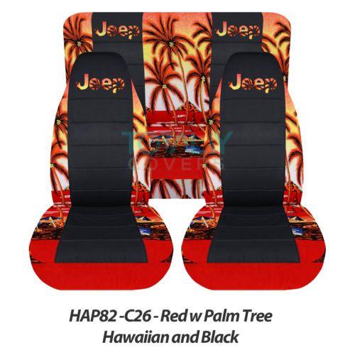 Jeep Wrangler YJ/TJ/JK 1987-2017 Hawaiian & Black Seat Covers Front & Rear Set