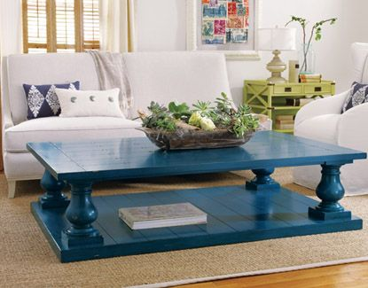 No tutorial here but how fabulous is this painted pop of teal/blue coffee table in this space.  Love the gloss finish.