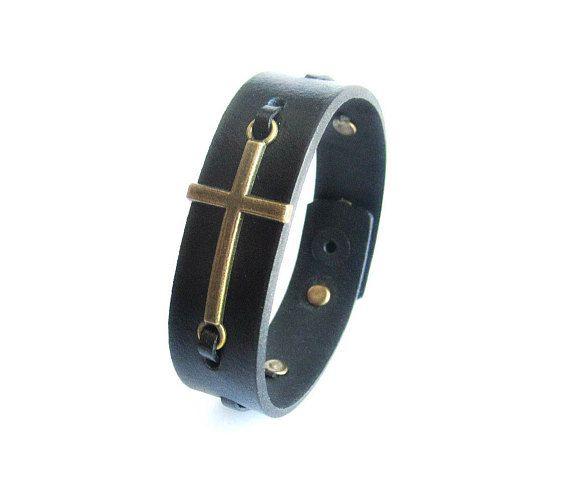 Сross bracelet leather mens black leather bracelet bronze