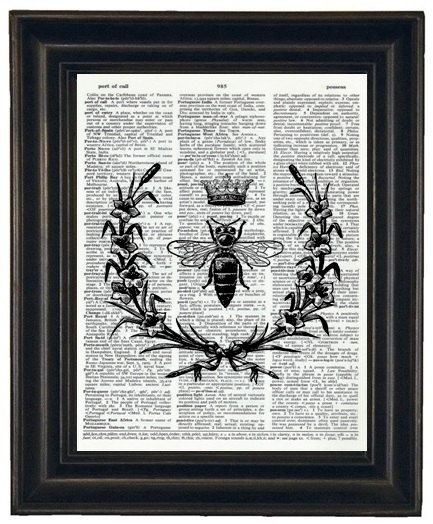 BOGO SALE Bee Upcycle Dictionary Art Book by HamiltonHousePrints