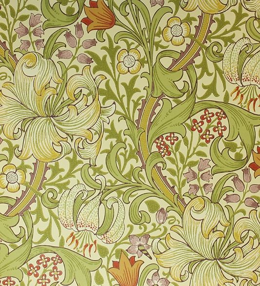 Golden Lily Wallpaper A classic William Morris wallpaper floral lilies in yellow, green, lilac and red on a cream background