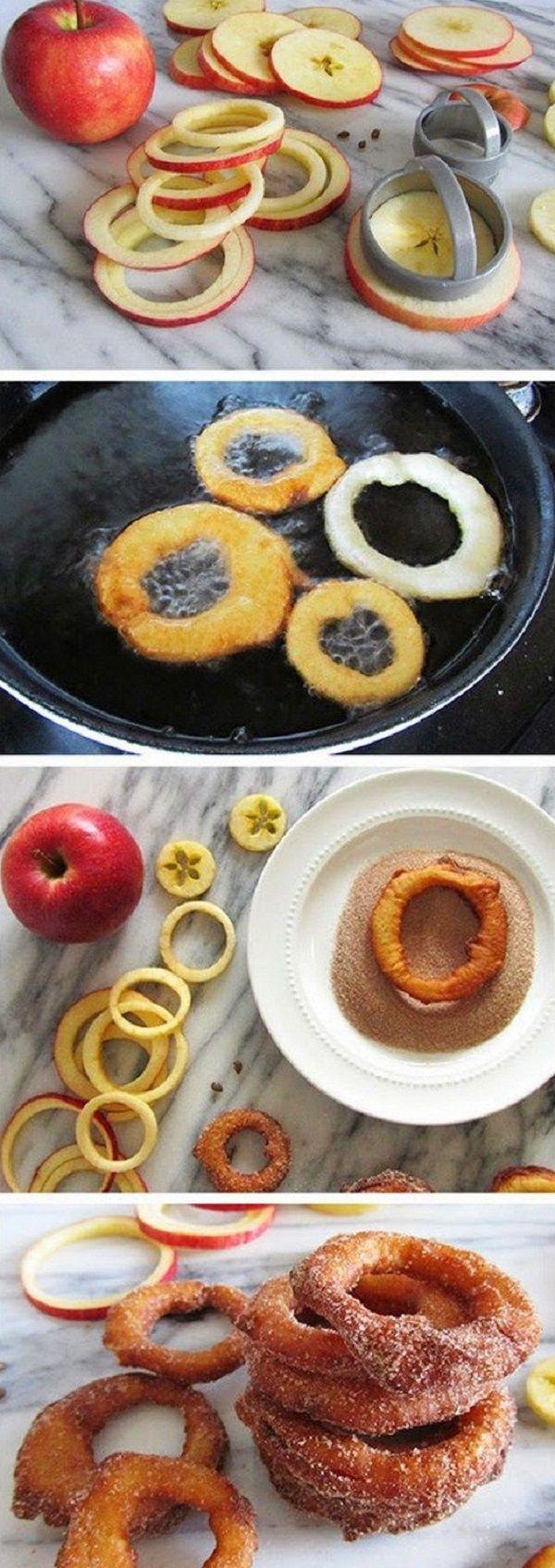 яблочные кольца в панировке из сахара и корицы