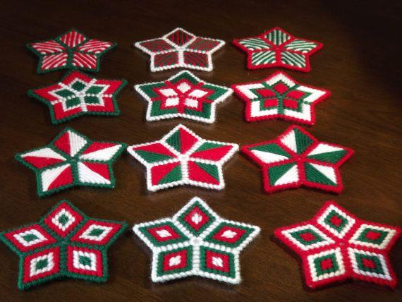 Plastic Canvas Christmas Stars Set of 4  by fuzzypixelcrafts