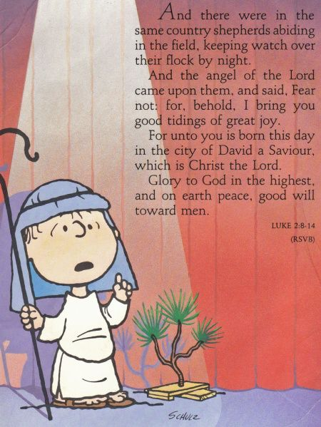 """Linus recites from the Gospel According to Luke in a scene from """"A Charlie Brown Christmas,"""" a favorite Christmas special of mine."""