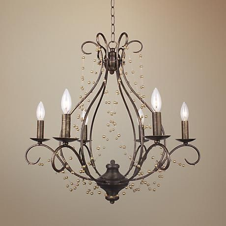 Crystorama Angelina 26 Wide English Bronze Chandelier Dining Room