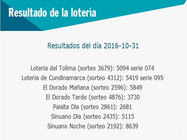 Resultado de la Lotería: Resultados-De las-loterias-de-colombia-31-de-octub...