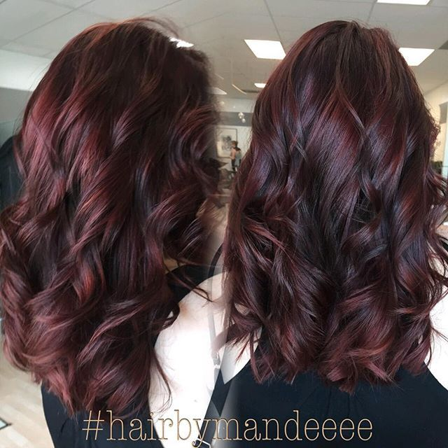 Merlot hair anyone?? #hairbymandeeee #cilantrohairspa #redkencolor #styleyourstory #redken #correctivecolor #redhair #redviolethair #precisioncut #curlyhair #behindthechair #unitehair #modernsalon