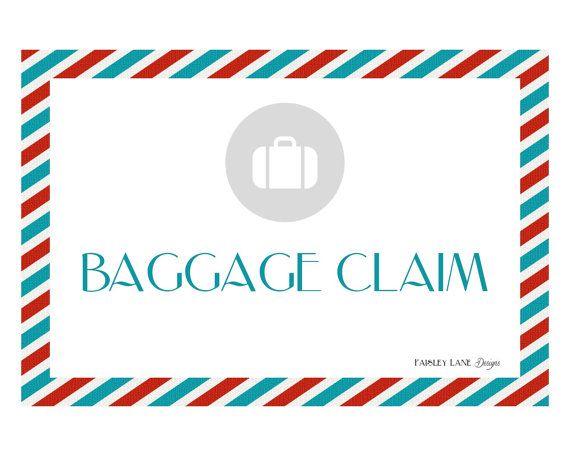 Baggage Claim Sign 8.5x11 Vintage Airplane by PaisleyLnDesigns