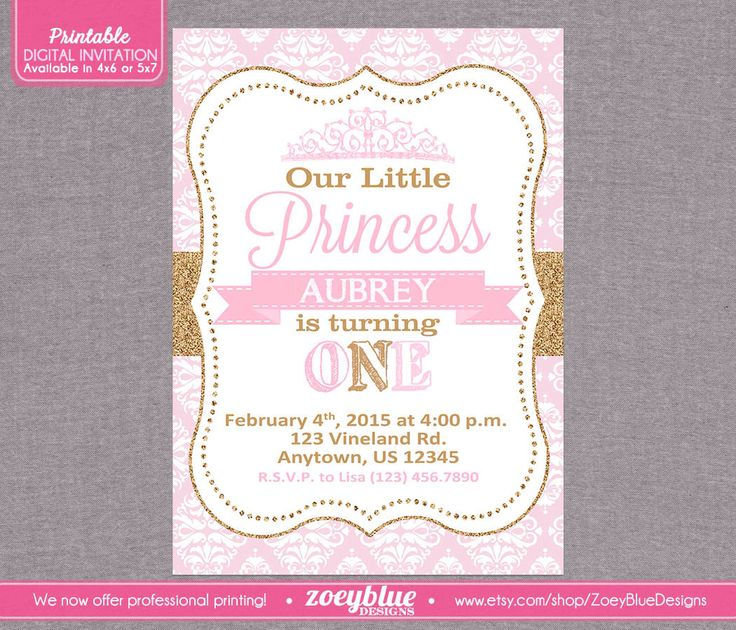 Princess Birthday Invitation Girl Gold Glitter Little Princess Party Invitation 1st First Birthday Pink Gold Damask - Printable Digital File by ZoeyBlueDesigns on Etsy https://www.etsy.com/listing/187468478/princess-birthday-invitation-girl-gold