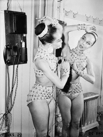 "Janet Collins, the first Black prima ballerina at The Metropolitan Opera in her dressing room on the night of her debut, November 11, 1951. Ms. Collins, a cousin of Carmen de Lavallade, performed Giuseppe Verdi's ""Aida"" that night. She died in 2003 at the age of 86."
