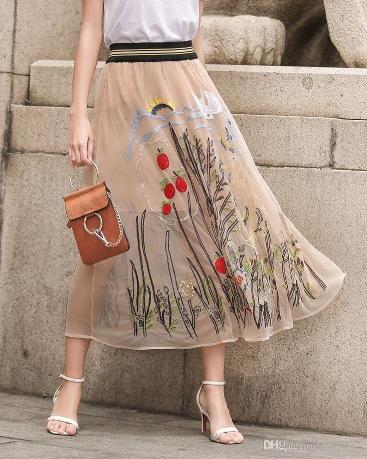 2017 Summer Long Skirts Top Quality Tulle with Embroidery Elastic Waist Long Women Dresses Black,Light Brown Skirts Long Skirts Floral Skirt Online with $69.0/Piece on Dqlstudio's Store   DHgate.com