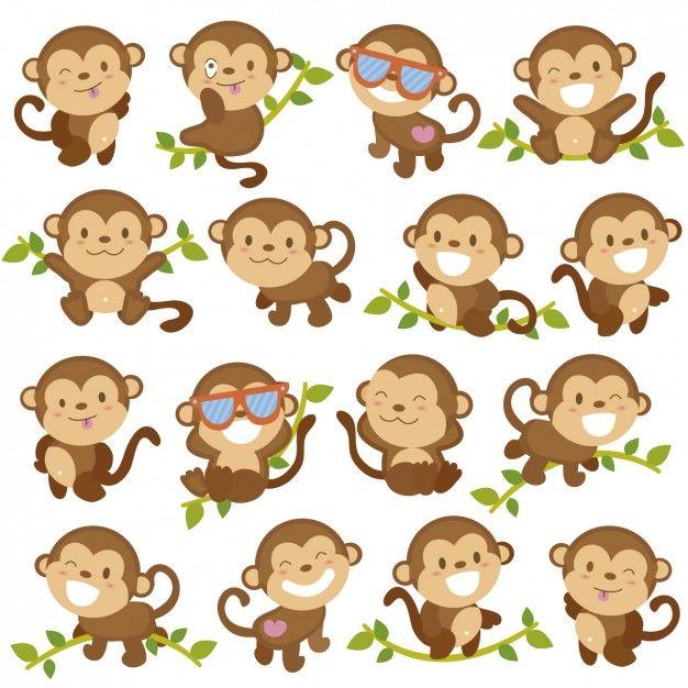 Desenhos animados engraçados do macaco Vetor grátis