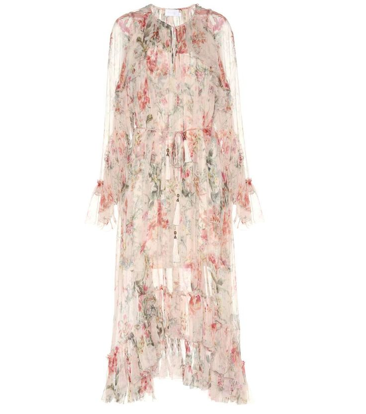 ZIMMERMANN - Silk floral ruffle dress - Channel a romantic vibe in this silk dress from Zimmermann with its antique tones and feminine floral print. This semi-transparent style features delicate ruffles and a drawstring at the collar accented with a tassel. - @ www.mytheresa.com