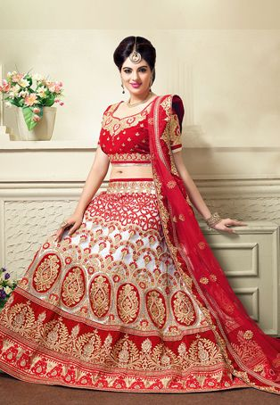 Off White and Red Net Lehenga Choli with Dupatta   This attire is Resham, Golden Zari, Stone and Beads Work throughout in Floral and Ornamental motif.